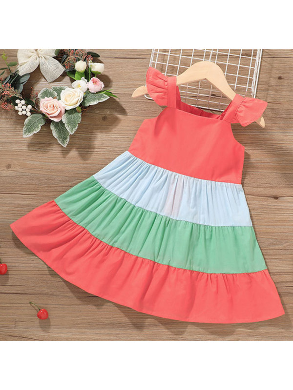 【6M-4Y】Girls Sweet Color Block Dress