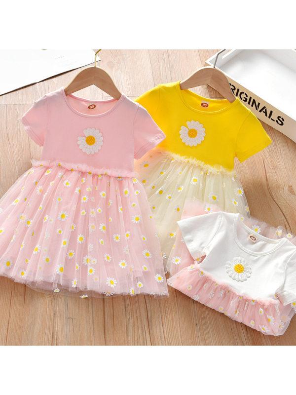 【18M-7Y】Girls Sweet Daisy Pattern Short Sleeve Dress