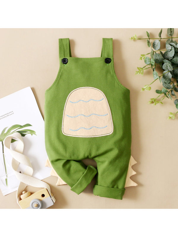 【0M-18M】Cute Cartoon Embroidered Green Overalls
