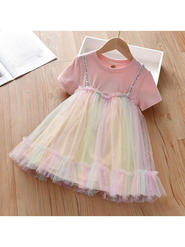 【2Y-9Y】Girls Sweet Color Mesh Short-sleeved Dress