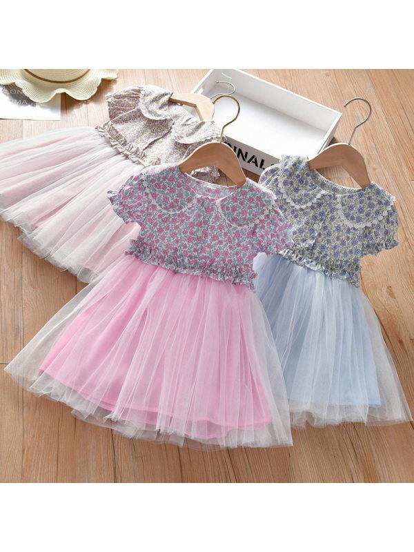 【18M-7Y】Girls Sweet Floral Mesh Short Sleeve Dress - 3398