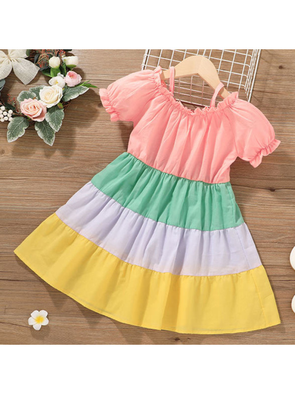 【12M-5Y】Girls Sweet Color Block Dress