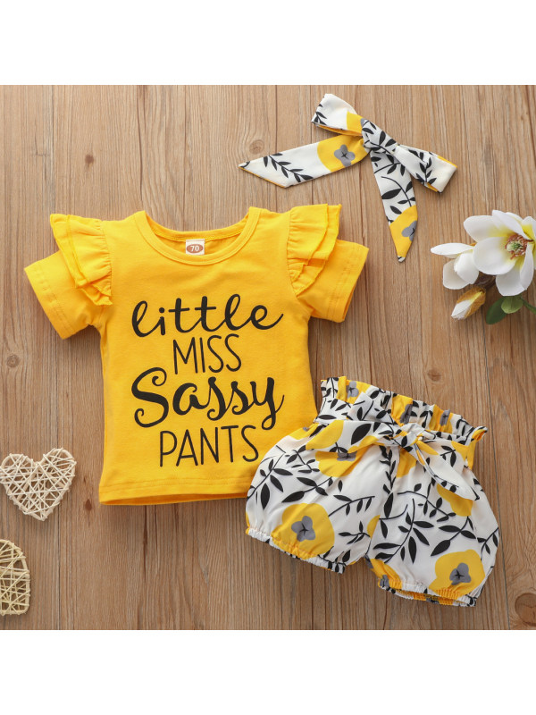 【0M-18M】Cute Letter Printed Yellow T-shirt and Floral Shorts Set
