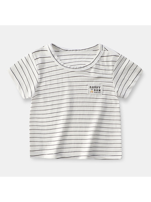 【18M-13Y】Boys Round Neck Short Sleeve Solid Color Striped T-shirt