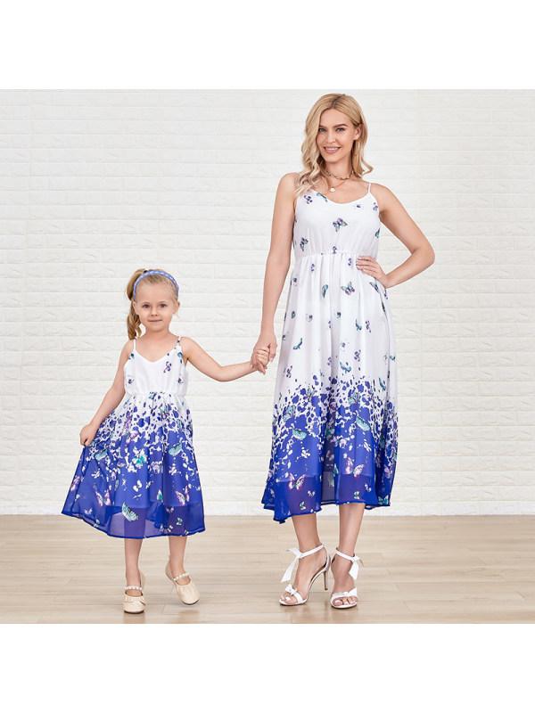 Sweet Blue Butterfly Chiffon V Neck Sling Mom Girl Matching Dress
