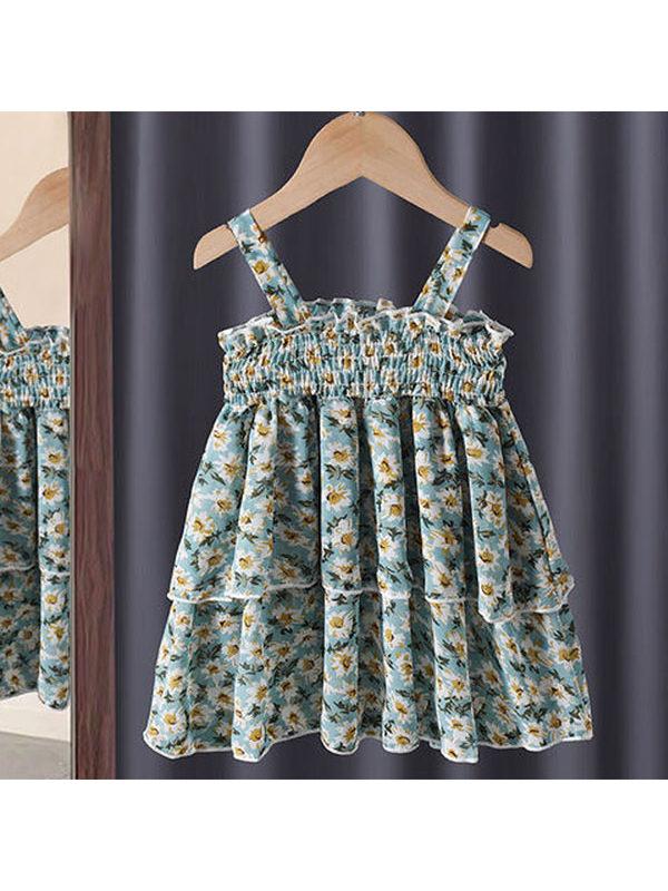 【12M-7Y】Girls Sling Lace Floral Dress