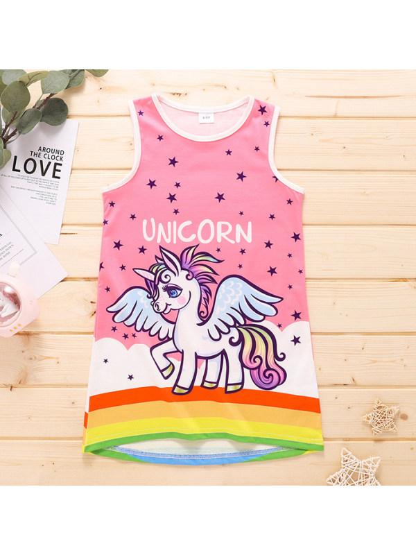 【4Y-9Y】Cute Cartoon Unicorn Print Round Neck Vest Dress