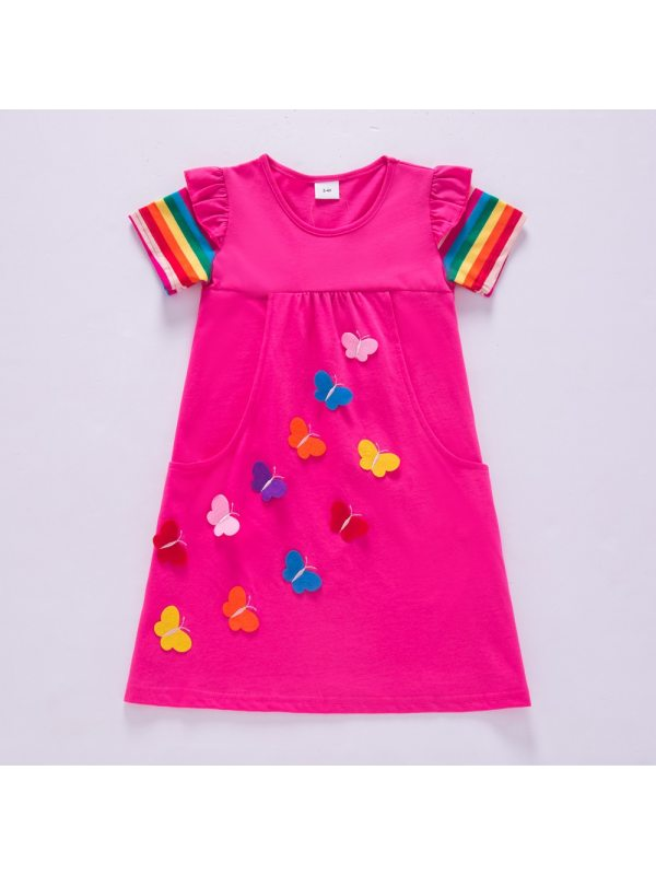 【3Y-8Y】Girl Sweet Butterfly Embroidered Short Sleeve Dress