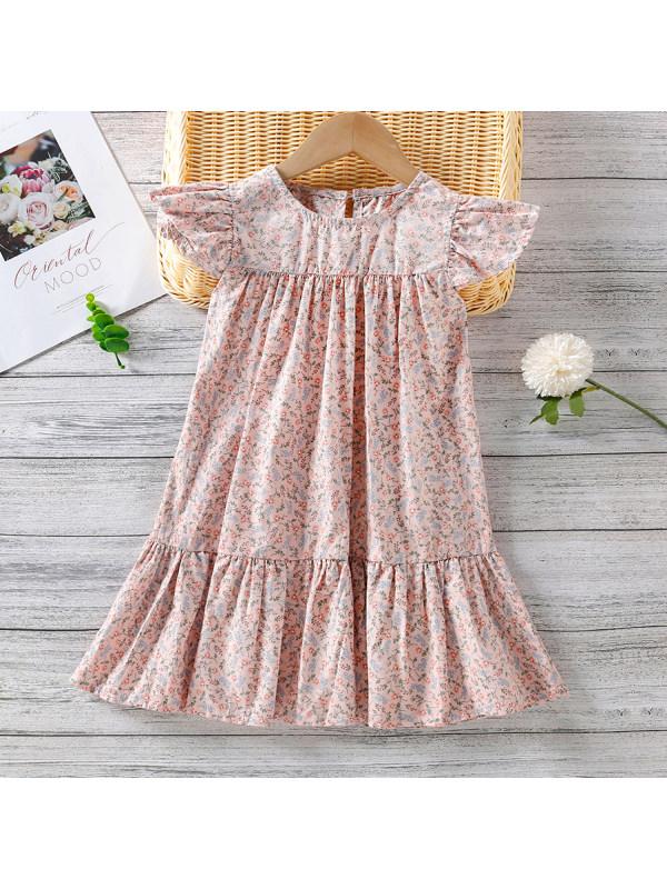 【18M-7Y】Sweet Flower Print Pink Dress