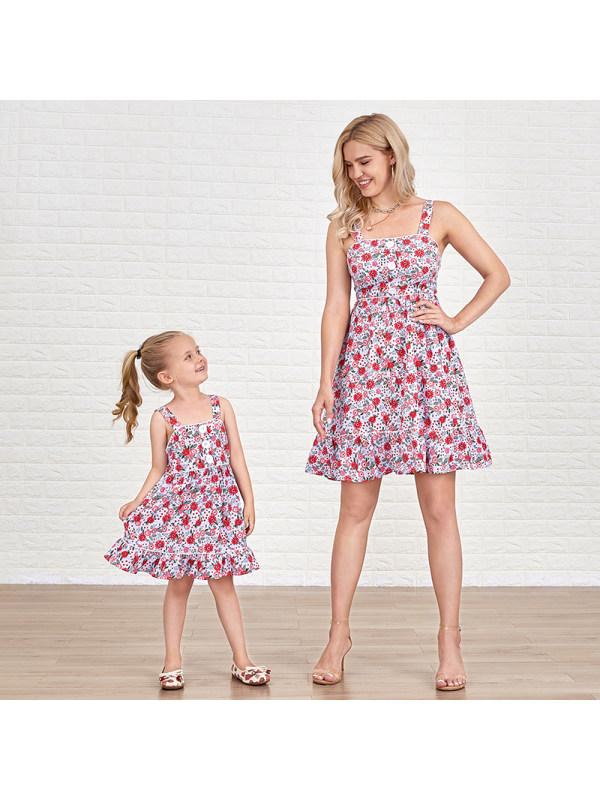 Summer Sweet Flower Print Mom Girl Matching Dress