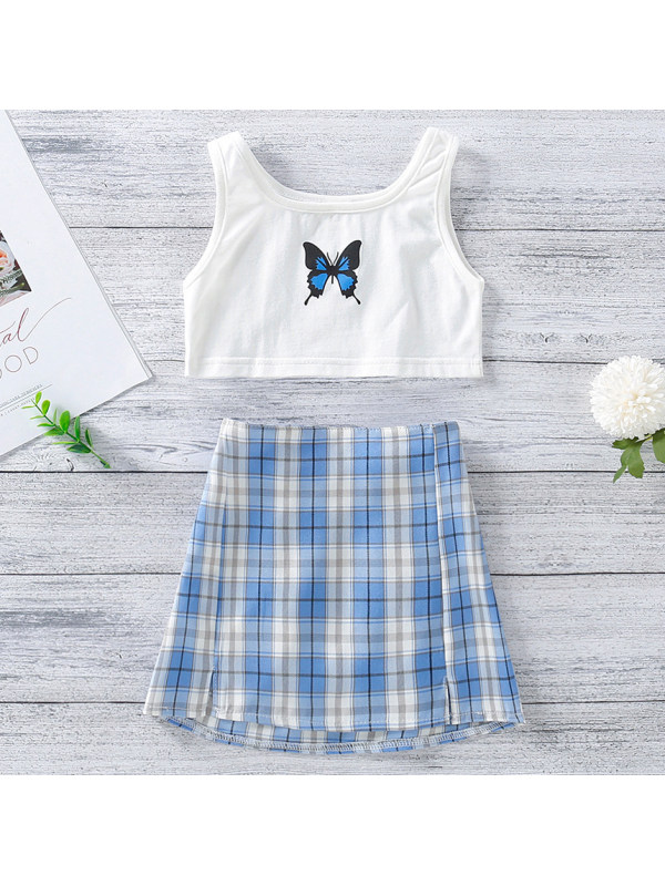 【18M-7Y】Cute Butterfly Print Top and  Plaid Skirt Set