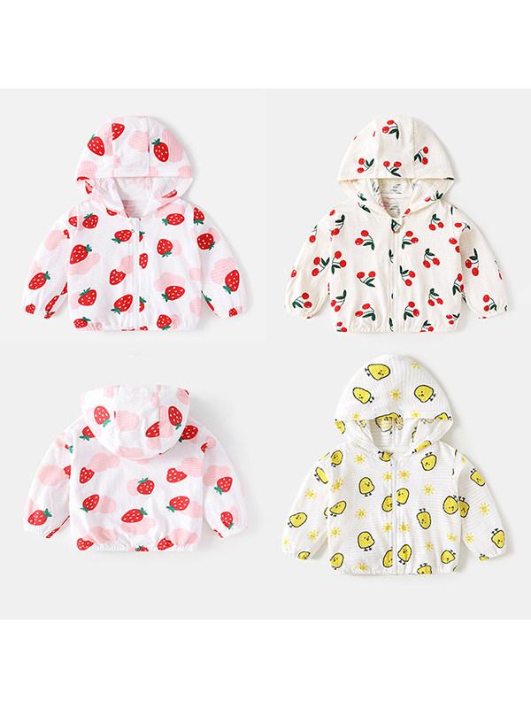 【6M-4Y】Girls' Hooded Cotton Cardigan Cartoon Print Sun Protection Jacket