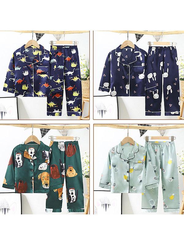 【2Y-11Y】Kids Cartoon Print Long-sleeved Home Wear Set