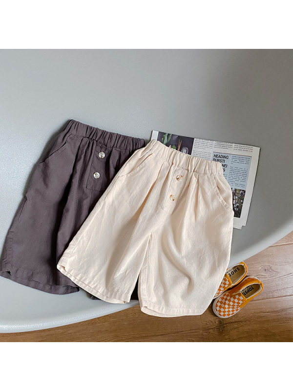 【18M-9Y】Boys Button-decorated Trendy Five-point Pants