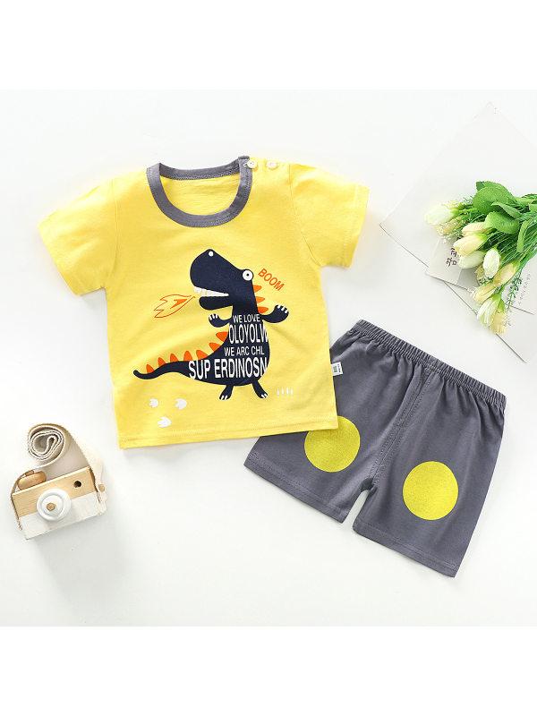 【12M-9Y】Boys Cartoon Print Short Sleeve Two-piece Suit