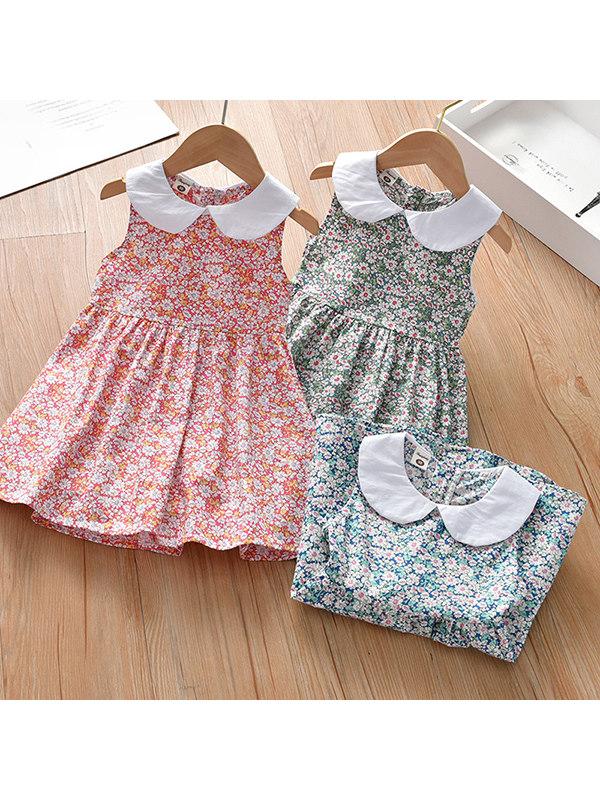 【18M-9Y】Girls Doll Collar Sleeveless Floral Dress