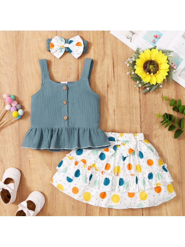【3M-3Y】Cute Ruffled Top and Polka Dot Skirt Set