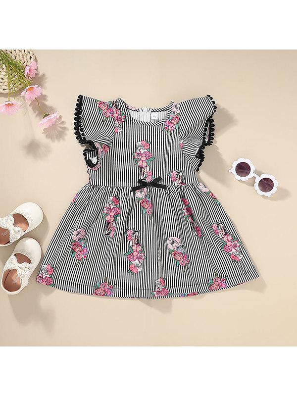 【12M-5Y】Girls Print Striped Tank Top Dress
