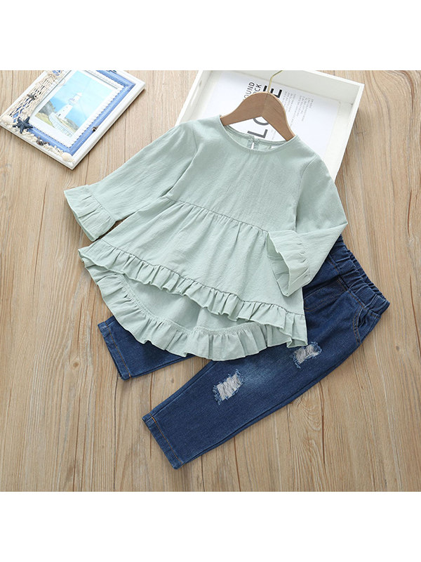 【12M-5Y】Girls' Flared Sleeve Solid Color Blouse Denim Ripped Pants Suit
