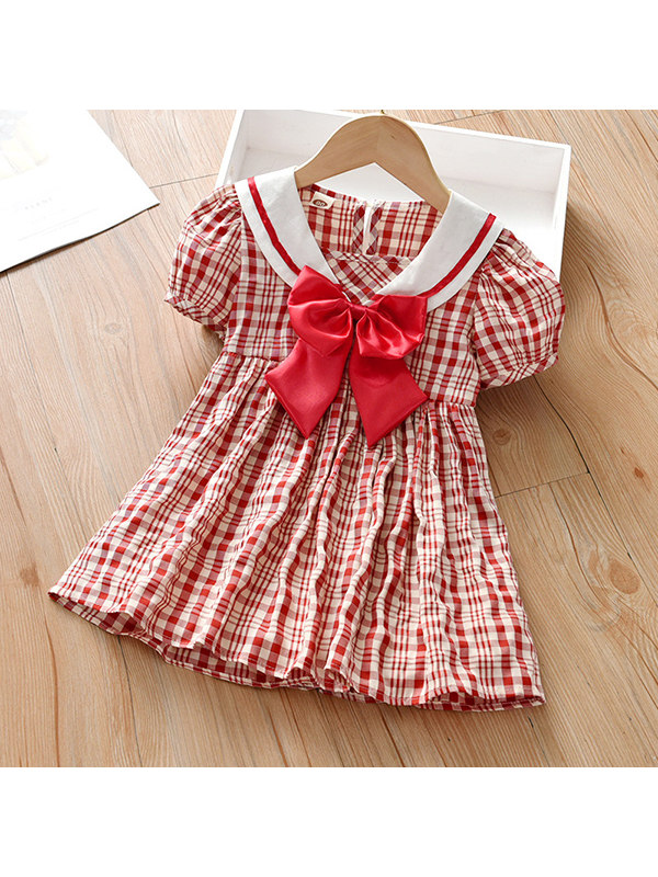 【18M-7Y】Girls Short-sleeved Bow-knot Plaid Dress