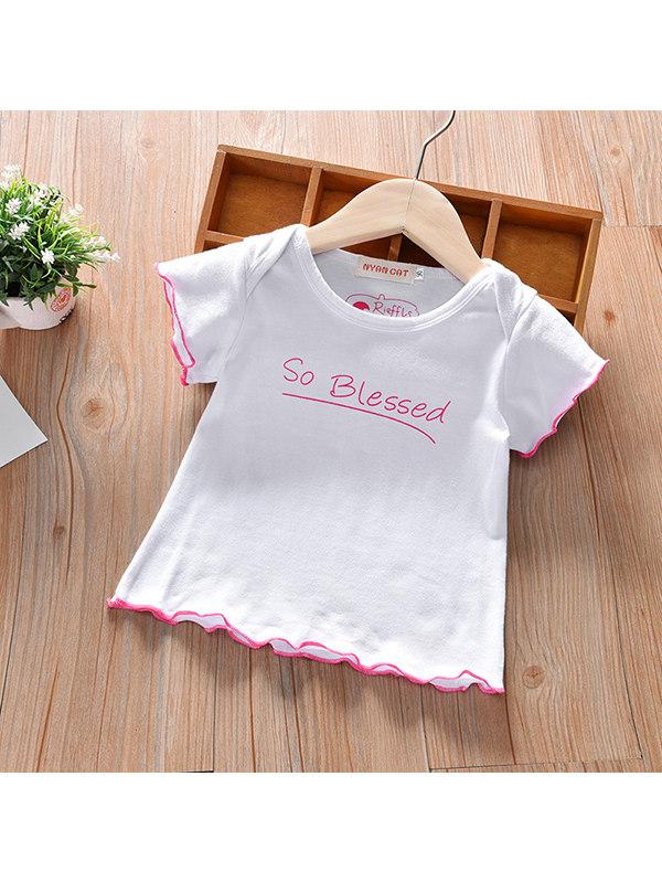 【6M-7Y】Girls Wings Print Short Sleeve T-shirt