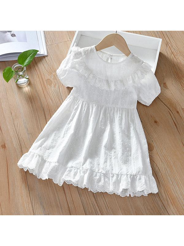 【18M-11Y】Girls Ruffled Stitching Dress - 33112