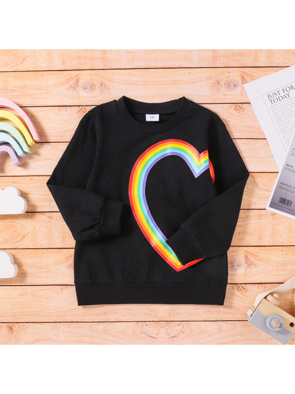 【3Y-11Y】Girls Heart Shaped Rainbow Crew Neck Long Sleeve Sweatshirt