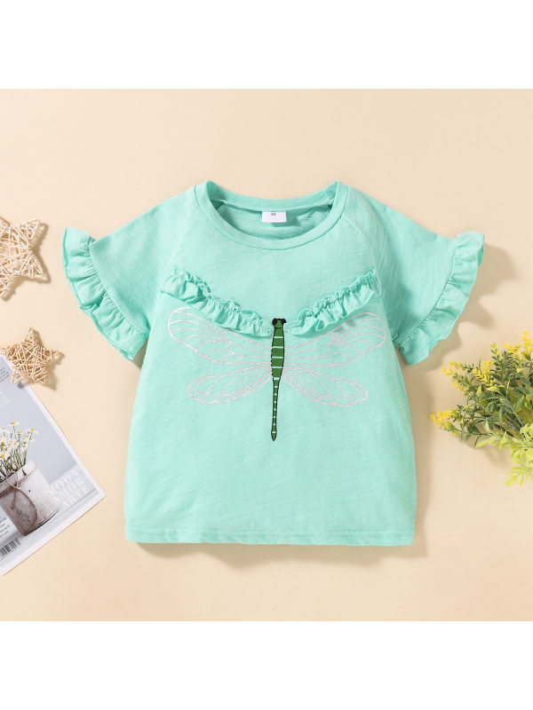 【18M-7Y】Girls Simple Casual Dragonfly Print Short-sleeved T-shirt