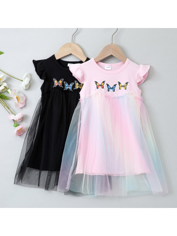 【18M-7Y】Sweet Butterfly Print Colorful Mesh Dress