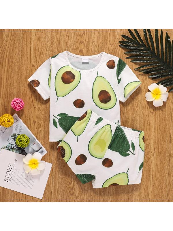 【18M-6Y】Children Casual Fruit Print Short-sleeved T-shirt Shorts Set