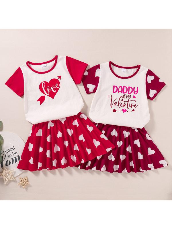 【3M-11Y】Girls Heart-shaped Print Short-sleeved T-shirt Skirt Suit