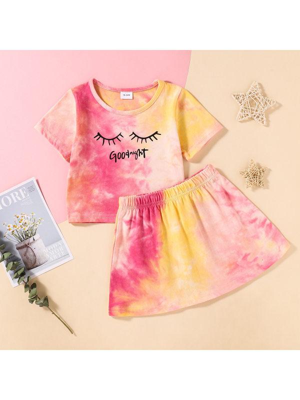 【18M-7Y】Girls Fashion Casual Tie-dye Short Sleeve T-shirt Skirt Set