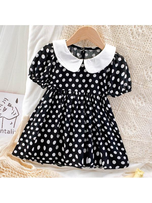 【18M-7Y】Sweet Polka Dot Black Dress
