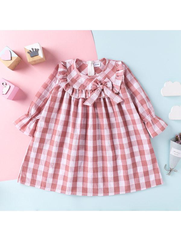 【18M-7Y】Girls Sweet Lace Bow Plaid Long Sleeve Dress