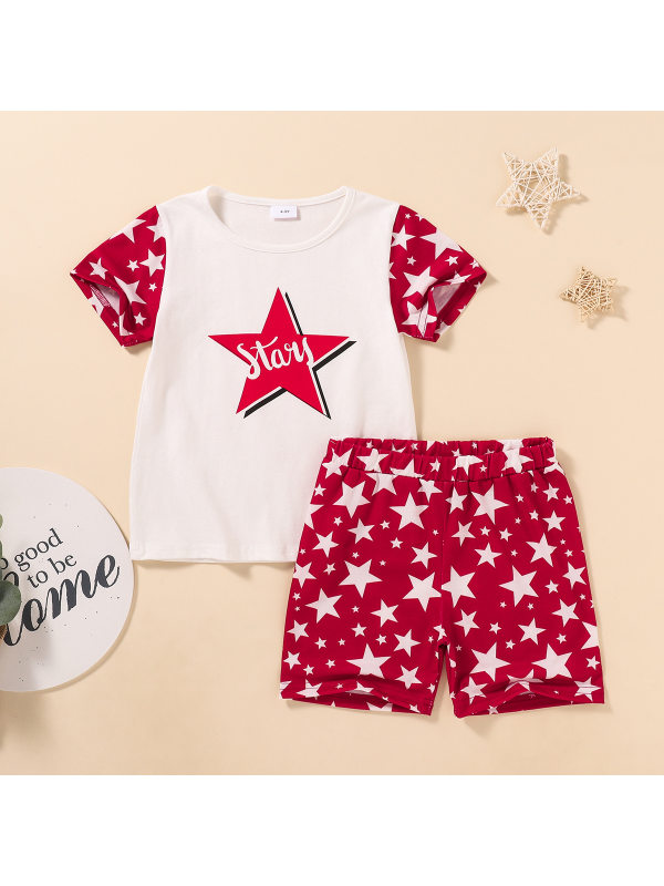 【3M-11Y】Children Casual Star Print Short-sleeved T-shirt Shorts Suit
