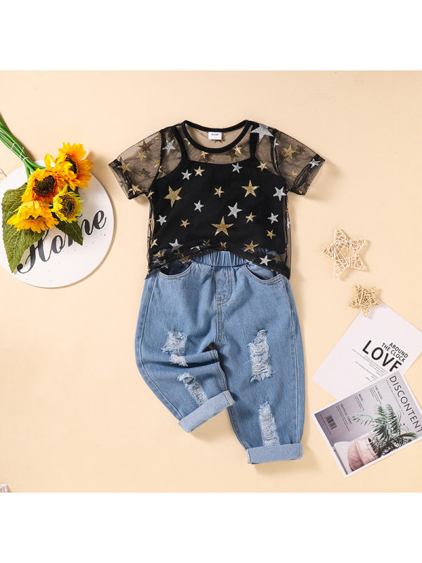【18M-5Y】Girls Mesh Short Sleeve Top Camisole Ripped Jeans Set