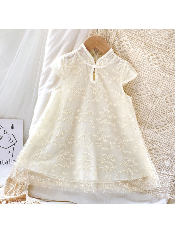 【18M-7Y】Sweet Floral Embroidered Apricot Mesh Dress
