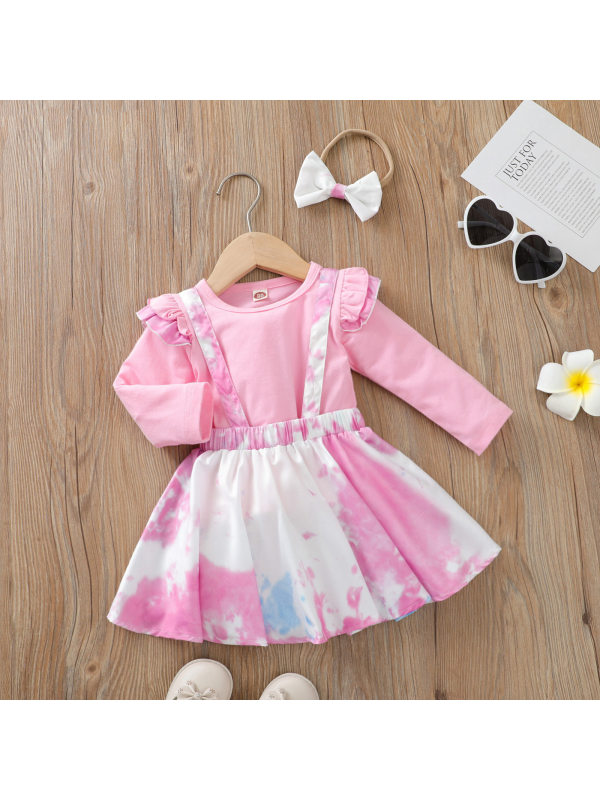 【12M-5Y】Sweet Pink T-shirt And Tie-dye Skirt Set