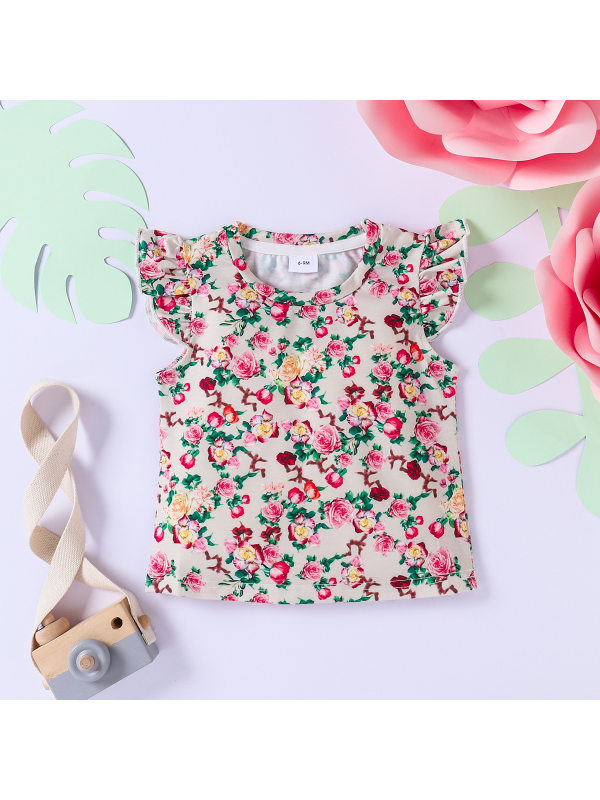 【3M-3Y】Girls Retro Sweet Floral Crew Neck Lace Sleeve T-shirt