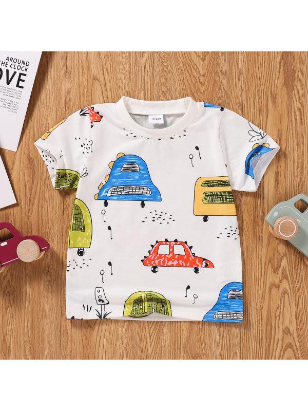 【18M-5Y】Boys Cute Casual Cartoon Car Short-sleeved T-shirt