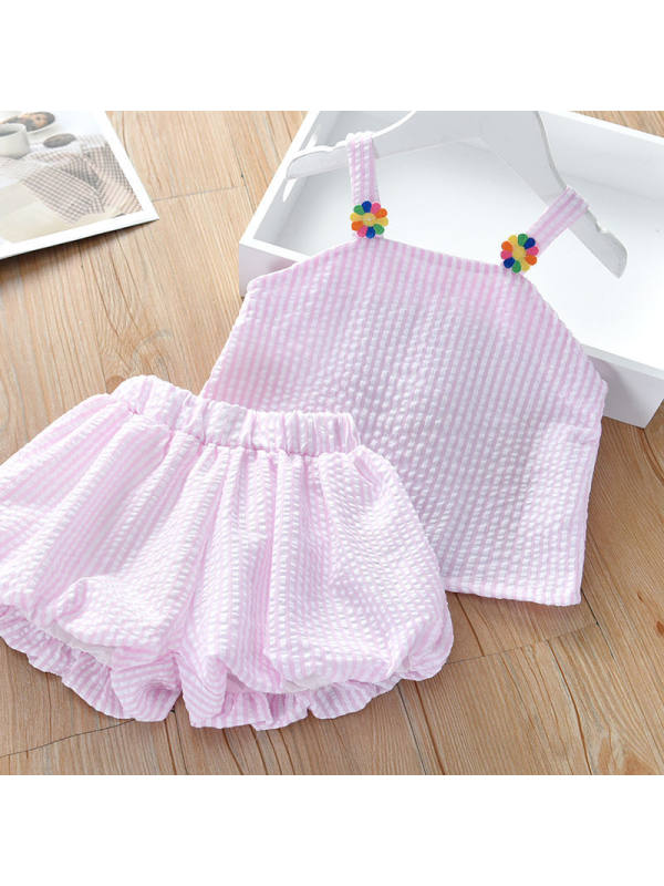 【12M-7Y】Girls Fresh Sweet Striped Camisole Top Lantern Shorts Set