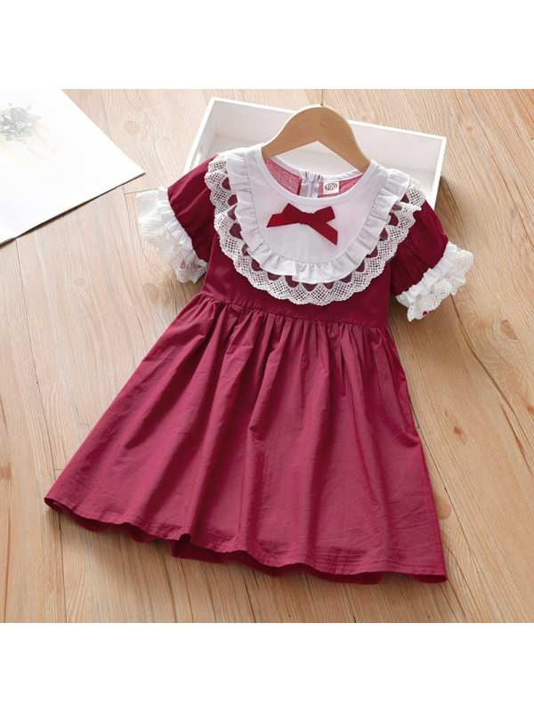 【2Y-9Y】Sweet Lace And Bow Red Dress
