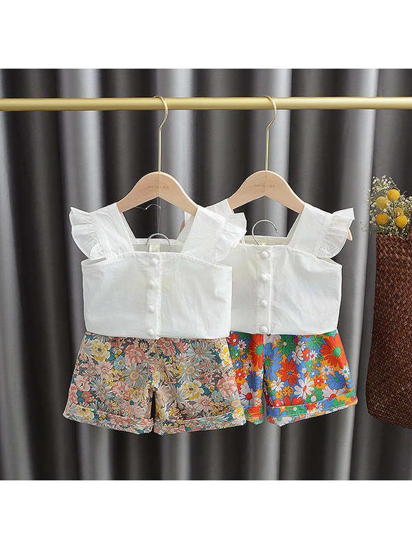 【18M-7Y】Girls Single-breasted Tank Top With Floral Shorts Suit