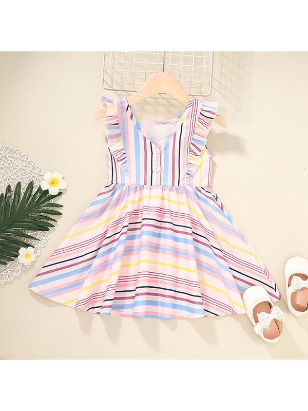 【12M-5Y】Girls V-neck Sleeveless Striped Dress