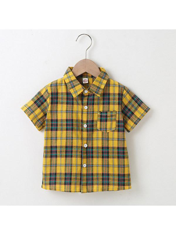 【18M-7Y】Boys Lapel Check Single-breasted Shirt