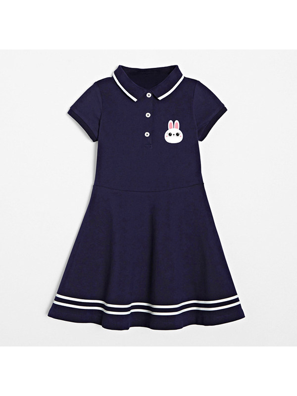 【18M-9Y】Girls Lapel Short Sleeve Cartoon Print Dress