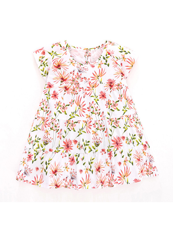 【18M-9Y】Girls Round Neck Short Sleeve Floral Dress