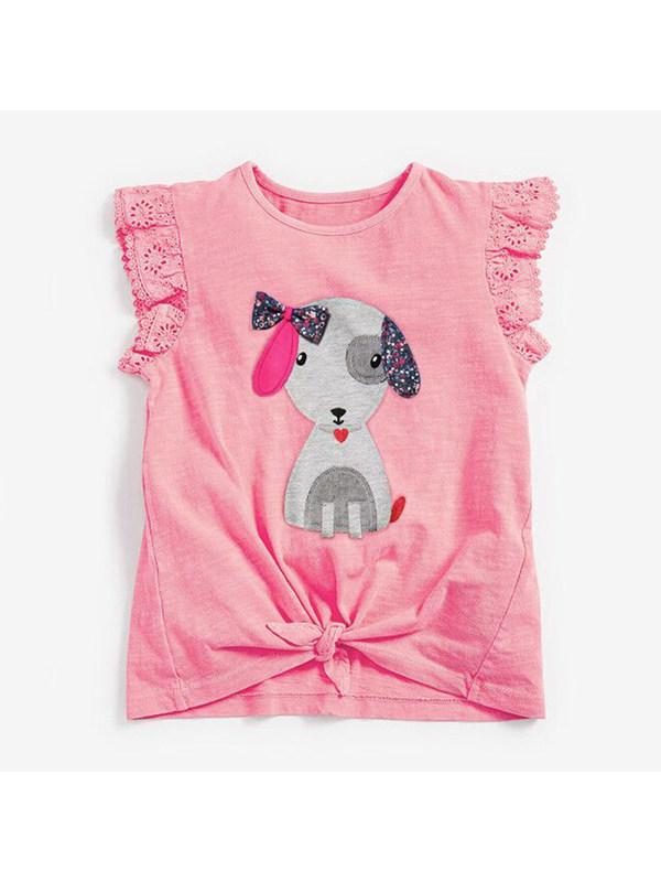 【18M-9Y】Girls Round Neck Sleeveless Cartoon Print T-shirt