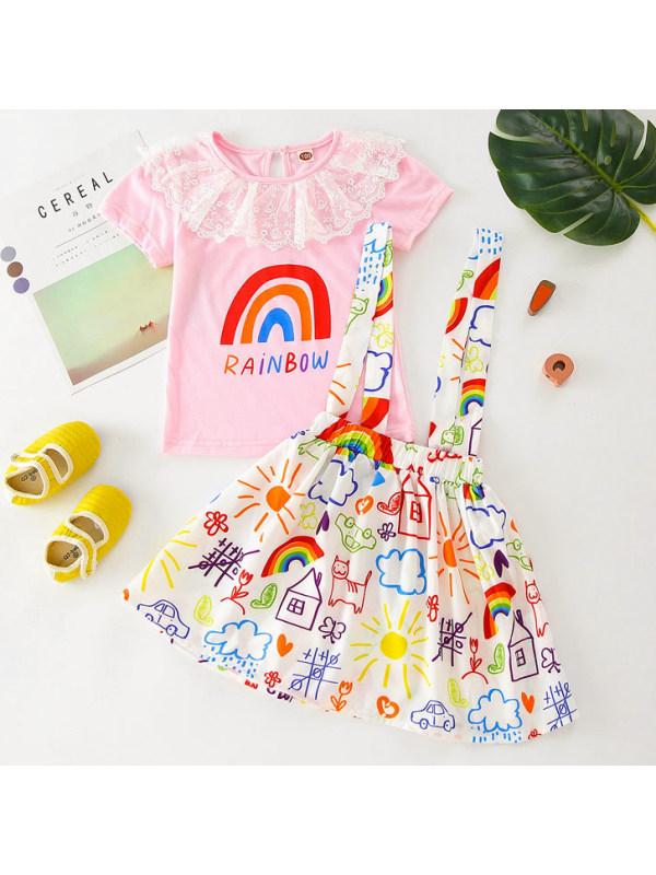 【18M-7Y】Sweet Rainbow Print T-shirt and Skirt Set