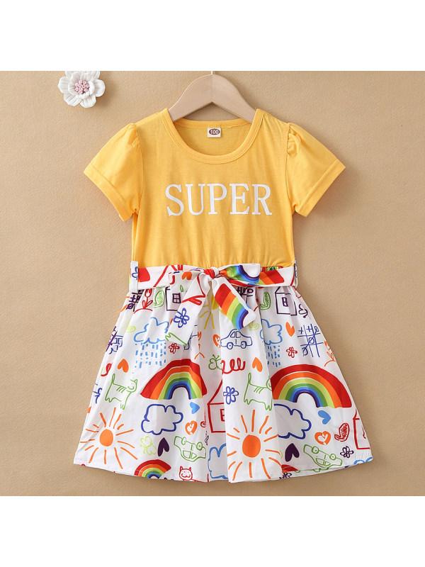 【18M-7Y】Cute Letter Print Round Neck Short Sleeve Dress